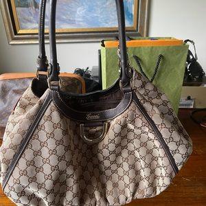 Gucci GG Canvas D Ring Shoulder Bag